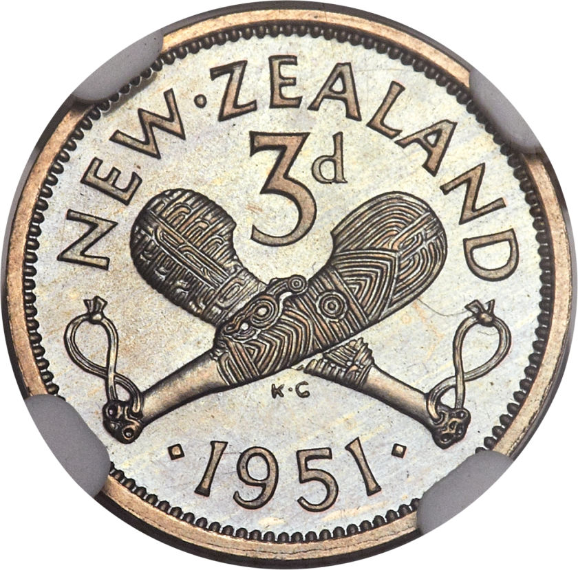 Threepence 1951: Photo New Zealand 1951 3 pence