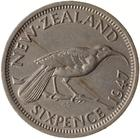 Sixpence 1947: Photo Coin - 6 Pence, New Zealand, 1947