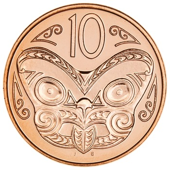 Ten Cents 2011: Photo Copper 10 cent of Reserve Bank of New Zealand