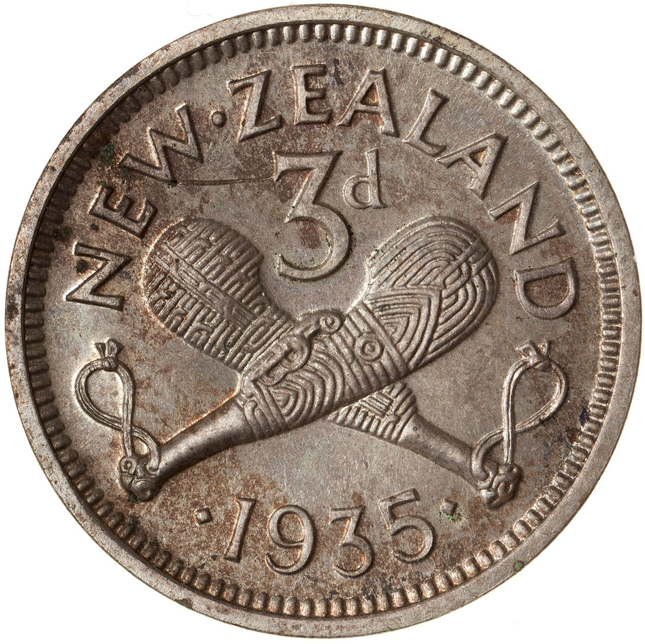 Threepence 1935: Photo Proof Coin - 3 Pence, New Zealand, 1935