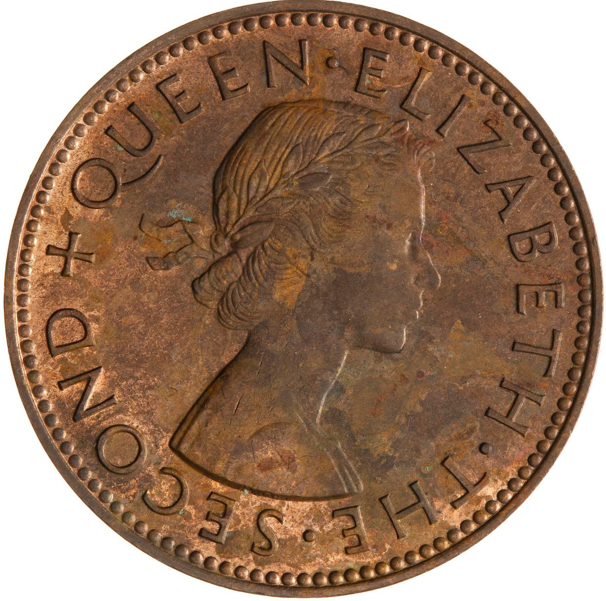 Halfpenny 1957: Photo Coin - 1/2 Penny, New Zealand, 1957