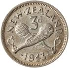 Threepence 1943: Photo Coin - 3 Pence, New Zealand, 1943