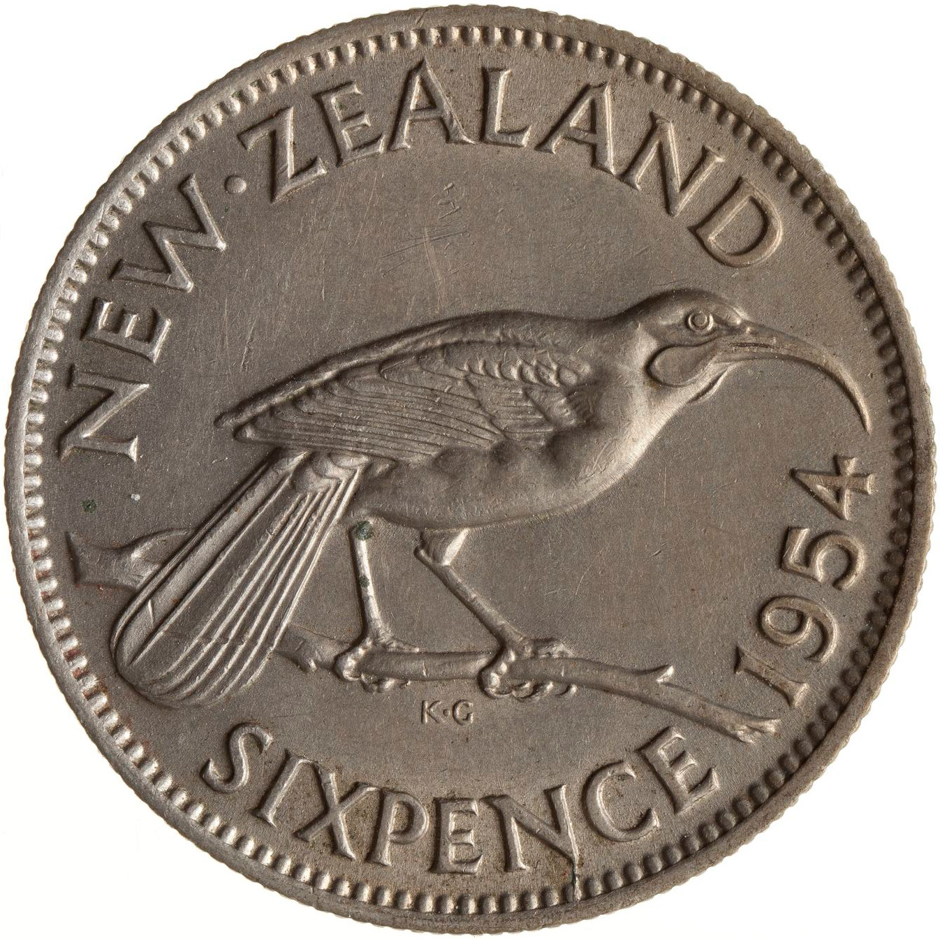 Sixpence 1954: Photo Coin - 6 Pence, New Zealand, 1954