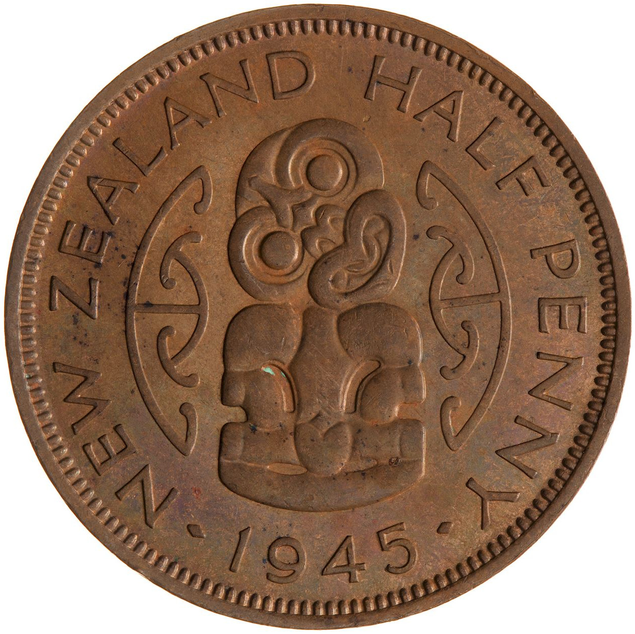 Halfpenny 1945: Photo Coin - 1/2 Penny, New Zealand, 1945