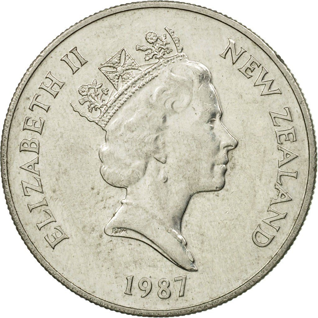 Ten Cents (Large): Photo Coin, New Zealand, Elizabeth II, 10 Cents, 1987