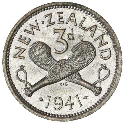 Threepence 1941: Photo GEORGE VI, threepence, 1941