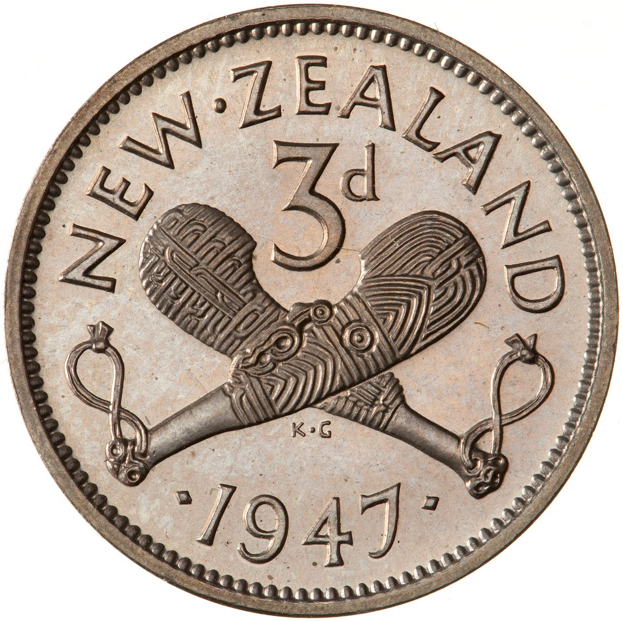 Threepence 1947: Photo Proof Coin - 3 Pence, New Zealand, 1947