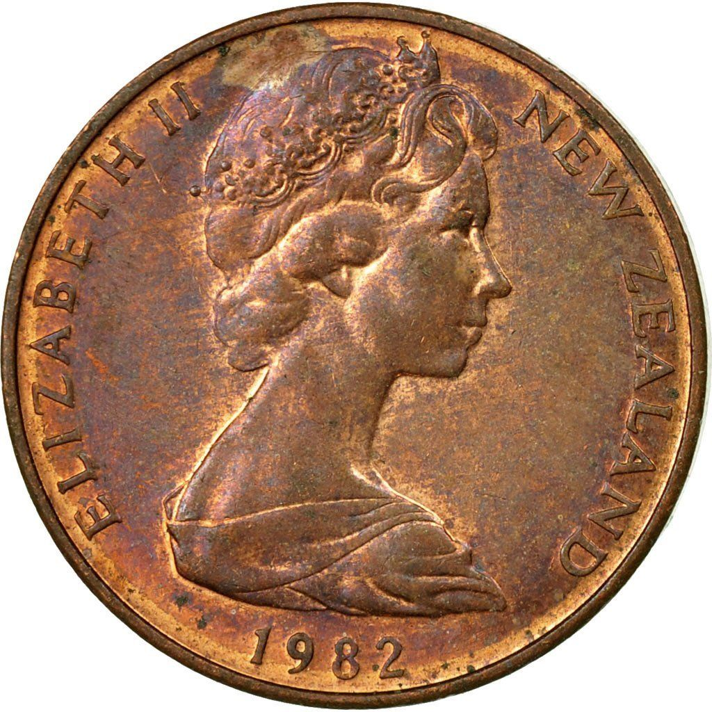 Two Cents 1982: Photo Coin, New Zealand, Elizabeth II, 2 Cents, 1982