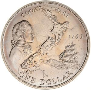 New Zealand / One Dollar 1969 Captain Cook - reverse photo