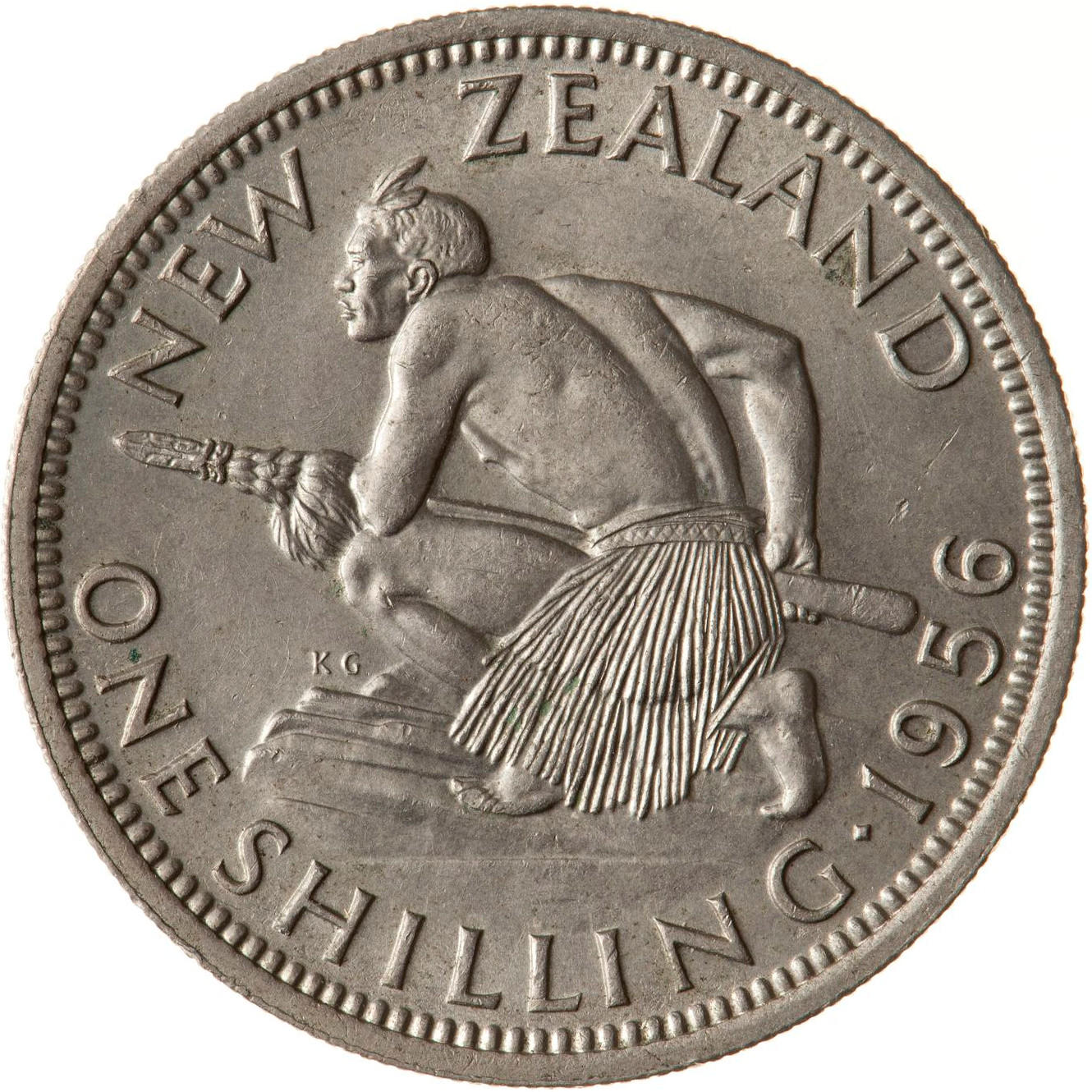 Shilling 1956: Photo Coin - 1 Shilling, New Zealand, 1956