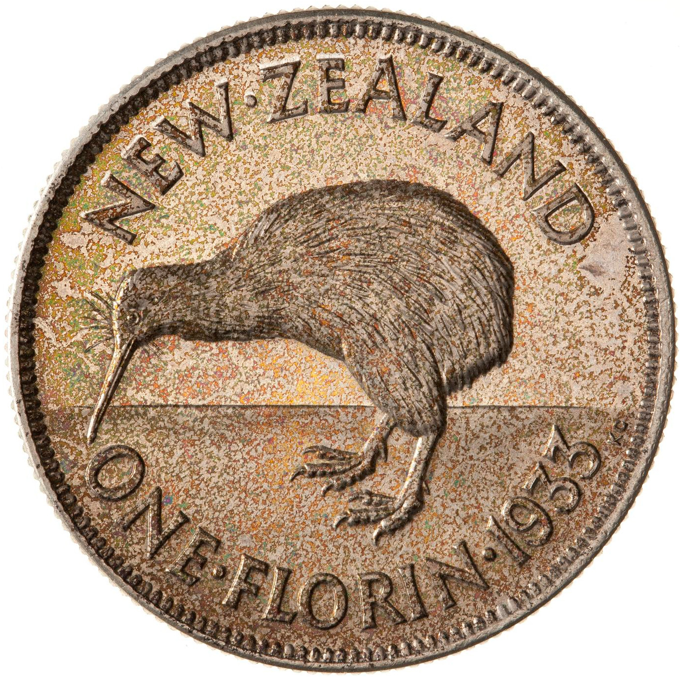 Florin 1933: Photo Proof Coin - Florin (2 Shillings), New Zealand, 1933