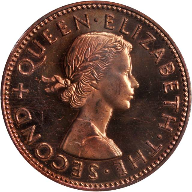 Halfpenny 1960: Photo New Zealand 1960 1/2 penny