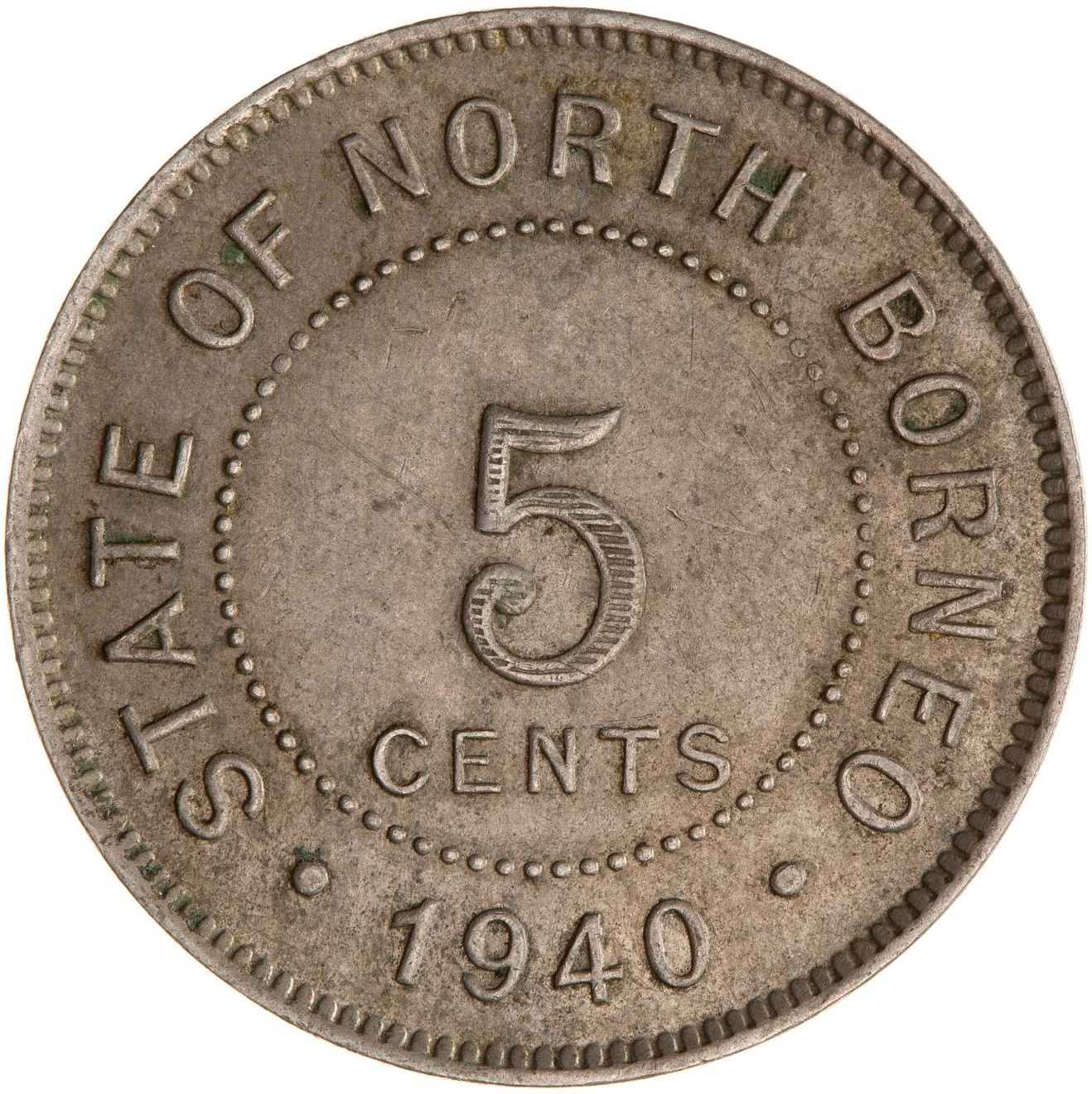 Five Cents 1940: Photo Coin - 5 Cents, North Borneo, 1940