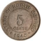 North Borneo / Five Cents 1940 - reverse photo