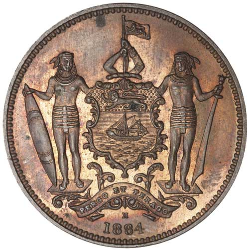 One Cent 1884: Photo BRITISH NORTH BORNEO, bronze cent, 1884H (KM.2)