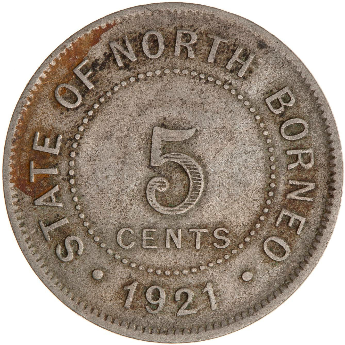 Five Cents 1921: Photo Coin - 5 Cents, North Borneo, 1921