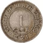 North Borneo / One Cent 1921 - reverse photo