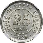 Twenty Five Cents 1929: Photo British North Borneo 1929-H 25 cents
