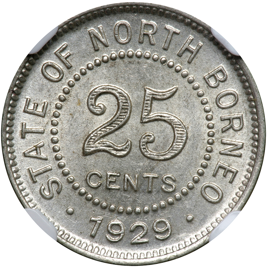 Twenty Five Cents: Photo British North Borneo 1929-H 25 cents