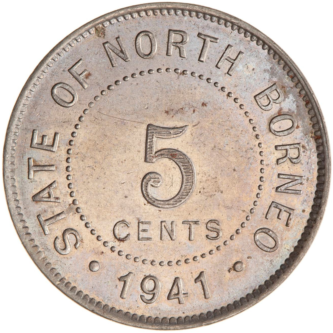 Five Cents 1941: Photo Coin - 5 Cents, North Borneo, 1941