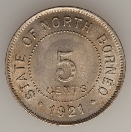 Five Cents 1921: Photo British North Borneo 1921-H 5 cents