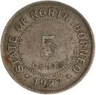 Five Cents 1927: Photo Coin - 5 Cents, North Borneo, 1927