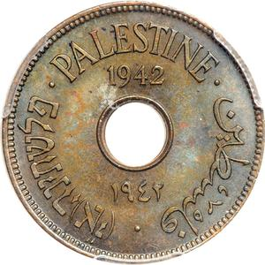 Palestine (British Mandate) / Ten Mils 1942 Bronze - obverse photo