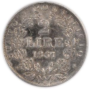 Papal States / Two Lire 1867 - reverse photo