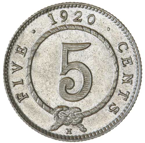 Five Cents: Photo SARAWAK, Charles Vyner Brooke (1917-1946), silver five cents, 1920H