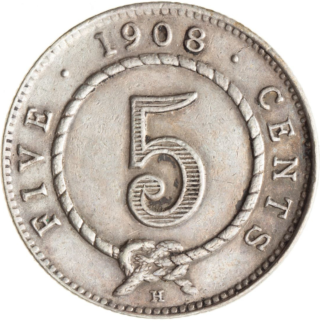Five Cents 1908: Photo Coin - 5 Cents, Sarawak, 1908