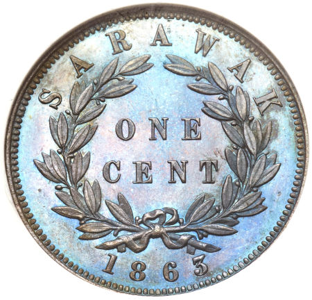 One Cent 1863: Photo Sarawak 1863 cent - CoinFactsWiki
