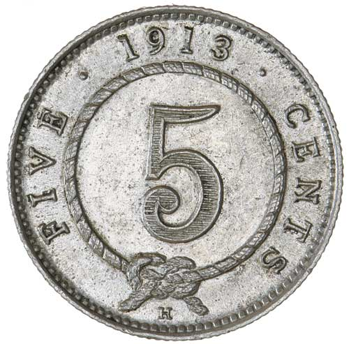 Five Cents 1913: Photo SARAWAK, Rajah Charles J. Brooke (1868-1917), silver five cents 1913H