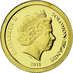 Solomon Islands / Five Dollars Gold 2011 Statue of Zeus - reverse photo