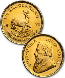 South Africa / Gold Quarter Ounce 1991 Krugerrand - reverse photo