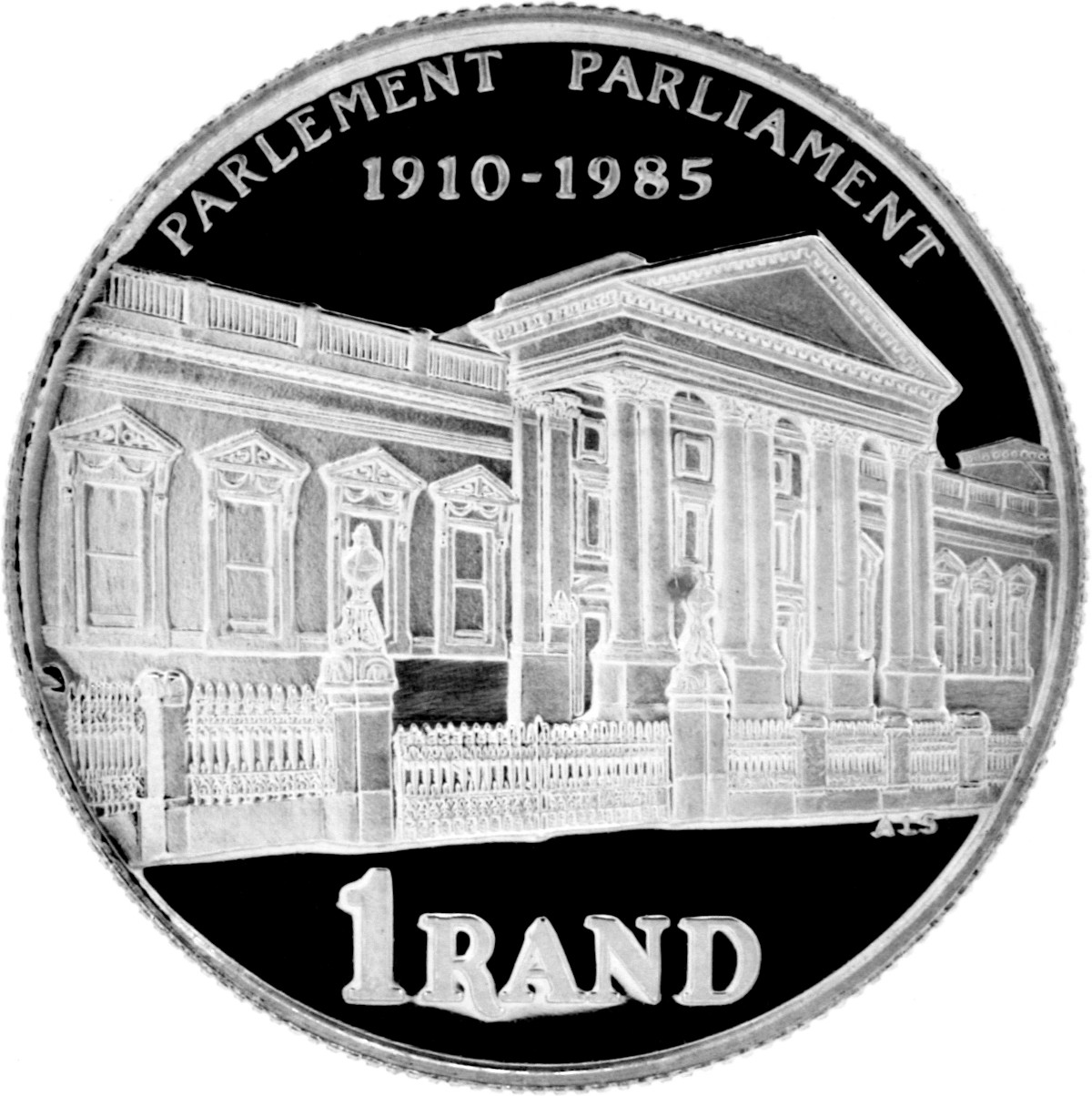 One Rand 1985 Parliament: Photo 1985 South Africa 1 Rand 75th Anniversary of Parliament Silver Proof