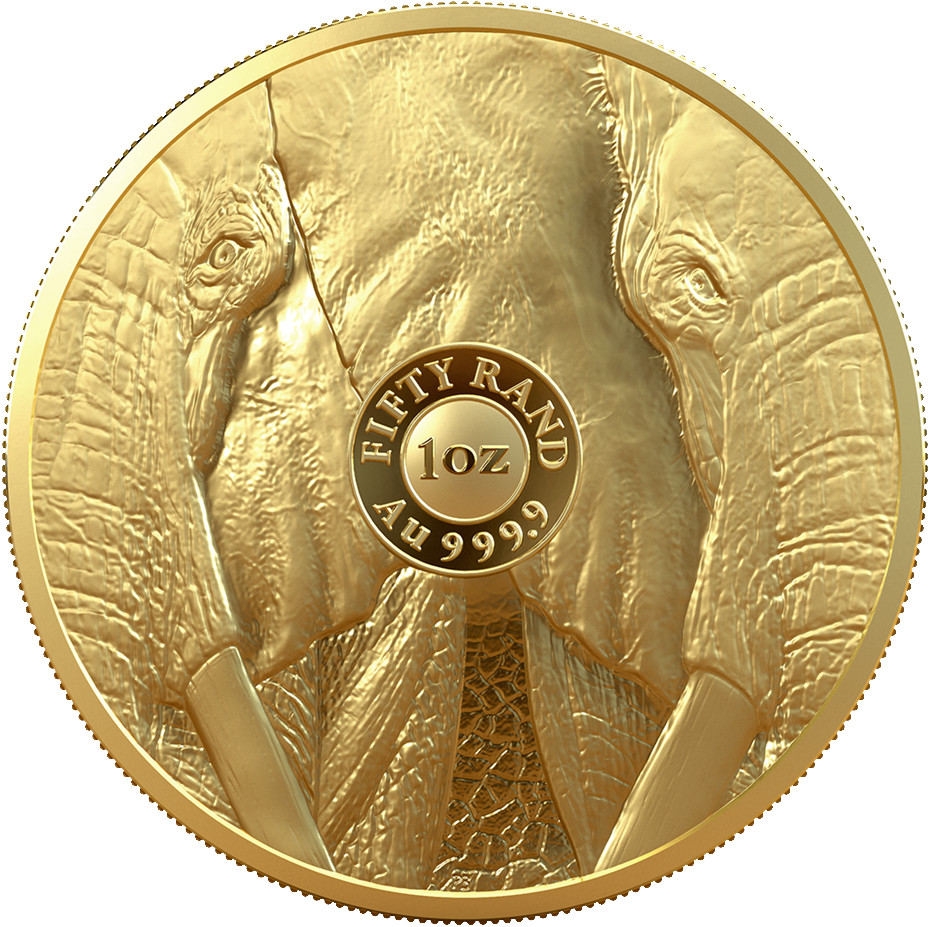 Gold Ounce 2019 Big Five - Elephant: Photo R50 Big 5 Elephant 1oz Gold Proof