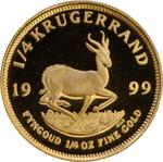 South Africa / Gold Quarter Ounce 1999 Krugerrand / Proof - reverse photo