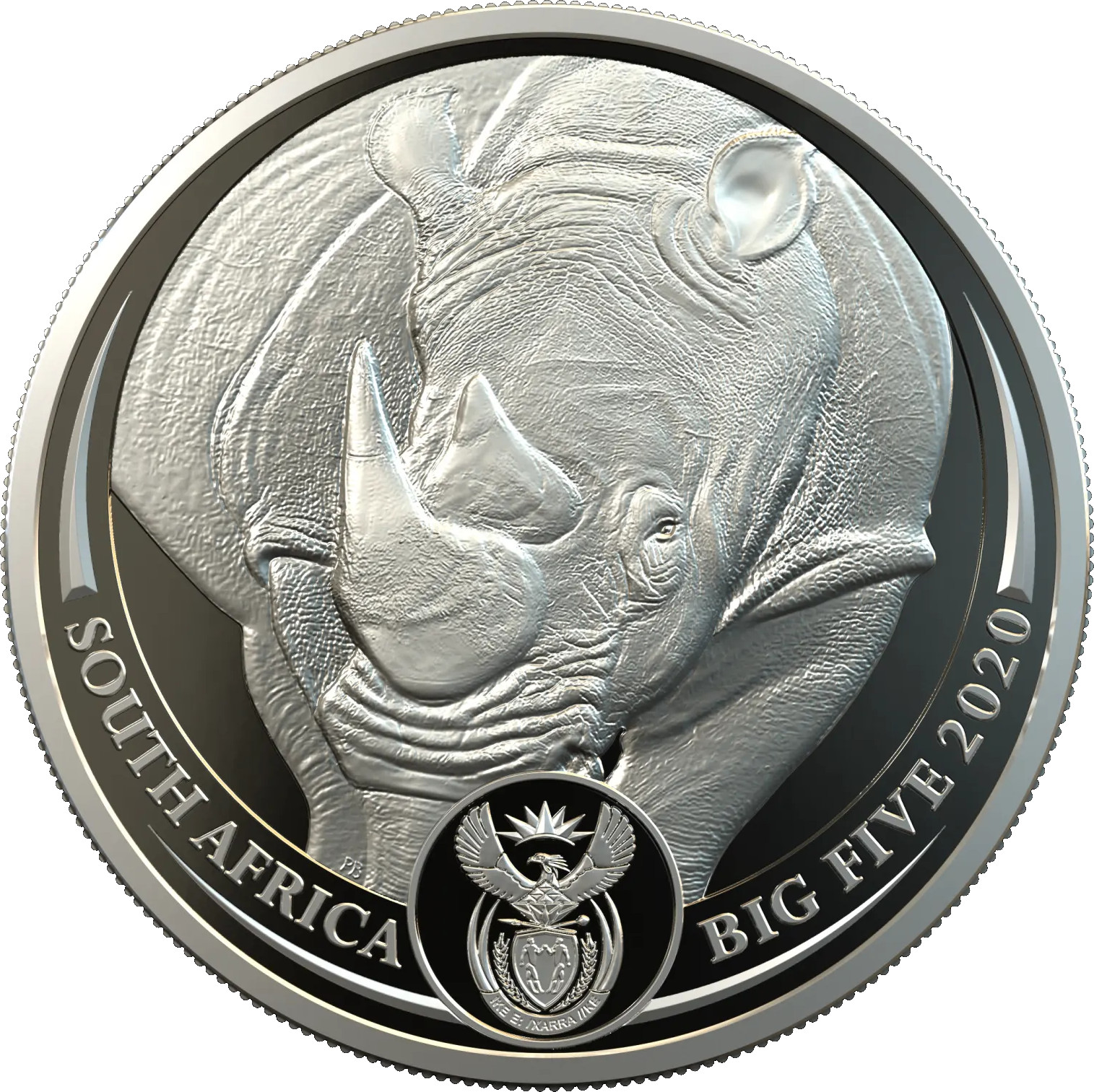 Platinum Ounce 2020 Big Five - Rhino: Photo R20 Big 5 Rhino 1oz Platinum Proof