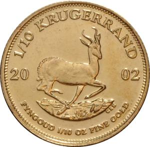 South Africa / Gold Tenth-Ounce 2002 Krugerrand - reverse photo
