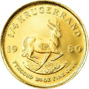 South Africa / Gold Quarter Ounce 1980 Krugerrand - reverse photo
