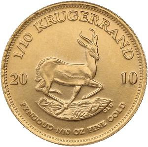 South Africa / Gold Tenth-Ounce 2010 Krugerrand - reverse photo
