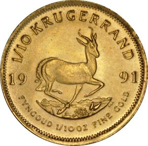 South Africa / Gold Tenth-Ounce 1991 Krugerrand - reverse photo