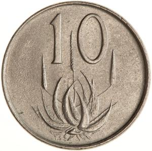 South Africa / Ten Cents 1969 (English) - reverse photo