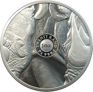 South Africa / Platinum Ounce 2020 Big Five - Rhino - reverse photo