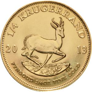 South Africa / Gold Quarter Ounce 2013 Krugerrand - reverse photo
