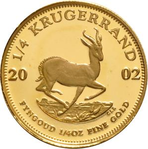South Africa / Gold Quarter Ounce 2002 Krugerrand - reverse photo