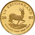 South Africa / Gold Quarter Ounce 2002 Krugerrand / Proof - reverse photo