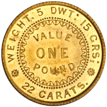 One Pound: Photo Australia 1852 pound Dentilated
