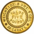 Five Pounds: Photo Pattern Coin - 5 Pounds, 1921 Late Strike, Adelaide Assay Office, South Australia, Australia, 1852