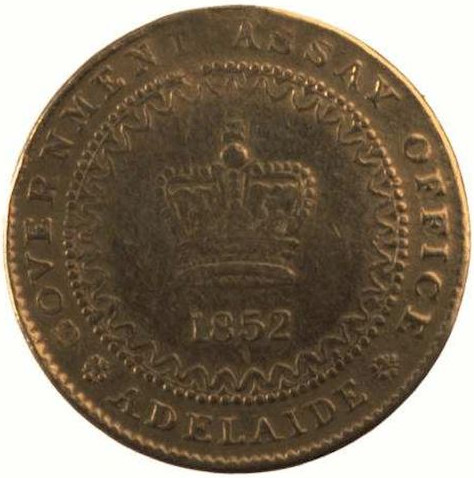 One Pound: Photo Coin - 1 Pound, Cracked Die, Adelaide Assay Office, South Australia, Australia, 1852